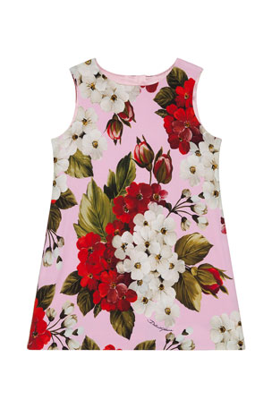 Dolce & Gabbana Girl's Blooming Floral A-Line Dress, Size 4-6 Girl's Blooming Floral A-Line Dress, Size 8-12