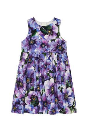 Dolce & Gabbana Girl's Blooming Floral Sleeveless Dress, Size 4-6 Girl's Blooming Floral Sleeveless Dress, Size 8-12