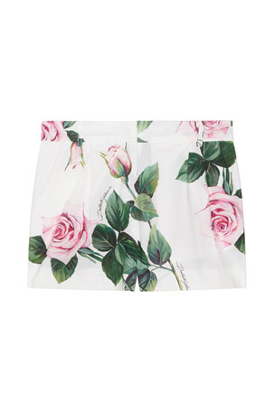 Dolce & Gabbana Girl's Rose Print Shorts, Size 4-6 Girl's Rose Print Shorts, Size 8-12