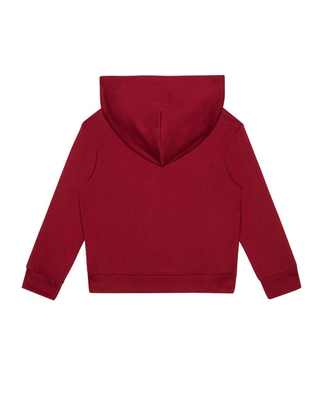 Dolce & Gabbana Boy's Logo Patch Zip-Up Hooded Jacket, Size 4-6