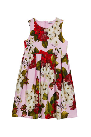 Dolce & Gabbana Girl's Blooming Geranium-Print Sleeveless Dress, Size 4-6 Girl's Blooming Geranium-Print Sleeveless Dress, Size 8-12