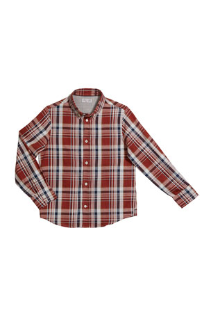 Brunello Cucinelli Boy's Plaid Button-Down Shirt, Size 12-14 Boy's Plaid Button-Down Shirt, Size 8-10 Boy's Plaid Button-Down Shirt, Size 4-6