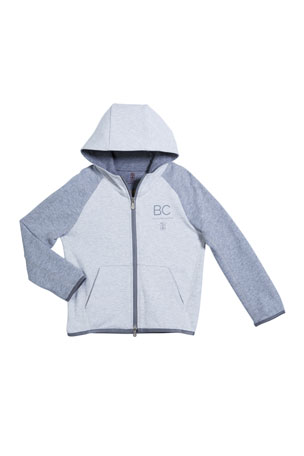 Brunello Cucinelli Boy's Two-Tone Hooded Zip-Front Sweatshirt, Size 8-10 Boy's Two-Tone Hooded Zip-Front Sweatshirt, Size 4-6