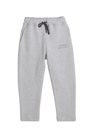 Brunello Cucinelli Boy's Drawstring Jogger Pants, Size 8-10 Boy's Drawstring Jogger Pants, Size 4-6 Boy's Drawstring Jogger Pants, Size 12-14