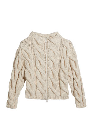 Brunello Cucinelli Girl's Zip-Front Chunky Cable Knit Cardigan, Size 8-10 Girl's Zip-Front Chunky Cable Knit Cardigan, Size 12-14 Girl's Zip-Front Chunky Cable Knit Cardigan, Size 4-6
