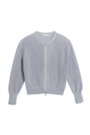 Brunello Cucinelli Girl's Cotton Paillette Zip-Front Cardigan, Size 8-10 Girl's Cotton Paillette Zip-Front Cardigan, Size 4-6 Girl's Cotton Paillette Zip-Front Cardigan, Size 12-14