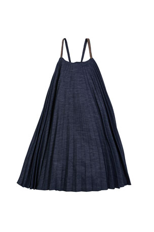 Brunello Cucinelli Girl's Denim Plisse Dress with Monili Straps, Size 8-10 Girl's Denim Plisse Dress with Monili Straps, Size 12-14 Girl's Denim Plisse Dress with Monili Straps, Size 4-6