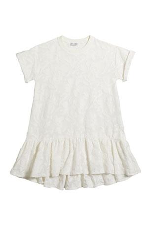 Brunello Cucinelli Girl's Short-Sleeve Jacquard Dress, Size 12-14 Girl's Short-Sleeve Jacquard Dress, Size 8-10 Girl's Short-Sleeve Jacquard Dress, Size 4-6