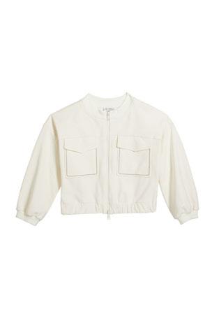 Brunello Cucinelli Girl's Stretch Cotton Zip-Front Cardigan, Size 12-14 Girl's Stretch Cotton Zip-Front Cardigan, Size 8-10 Girl's Stretch Cotton Zip-Front Cardigan, Size 4-6