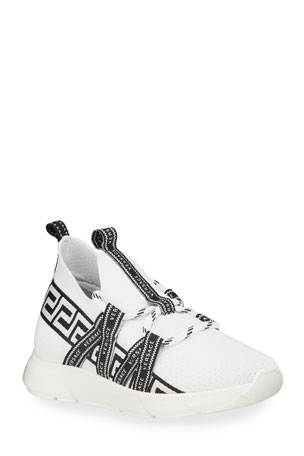 Versace Greek Key Logo Low-Top Sneakers, Kids Greek Key Logo Low-Top Sneakers, Kids