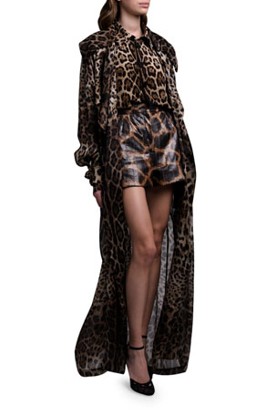 Dolce & Gabbana Leopard Crepe De Chine Button-Front Blouse Giraffe Print Shorts