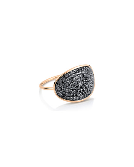 GINETTE NY 18k Gold Black Diamond Large Sequin Ring, Size 6