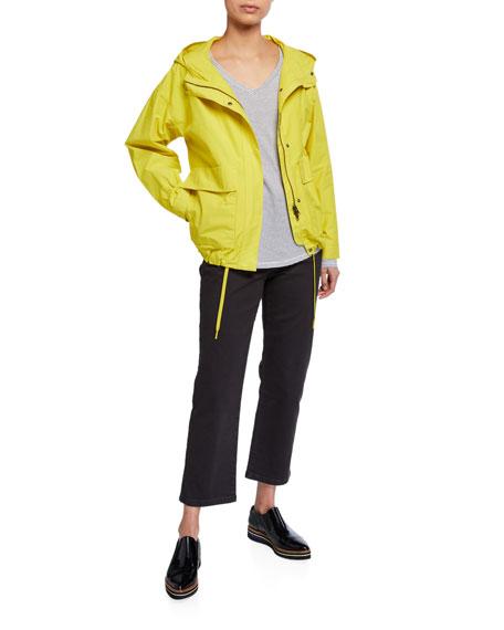 Eileen Fisher Lightweight Organic Cotton/Nylon Two-Pocket Hooded Coat
