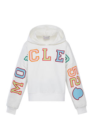 Moncler Girl's Multicolor Logo Hoodie, Size 4-6 Girl's Multicolor Logo Hoodie, Size 8-14