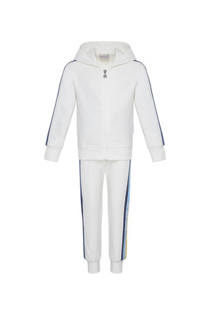 Moncler Girl's Logo Tape Hooded Zip-Front Track Jacket w/ Matching Joggers, Size 4-6 Girl's Logo Tape Hooded Zip-Front Track Jacket w/ Matching Joggers, Size 8-14