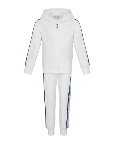 Girl's Logo Tape Hooded Zip-Front Track Jacket w/ Matching Joggers  Size 4-6  and Matching Items