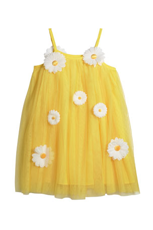 Charabia Girl's 3D Daisy Spaghetti-Strap Tulle Dress, Size 4-5 Girl's 3D Daisy Spaghetti-Strap Tulle Dress, Size 6-12