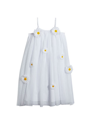 Charabia Girl's 3D Daisy Sleeveless Shift Dress, Size 4-5 Girl's 3D Daisy Sleeveless Shift Dress, Size 6-12