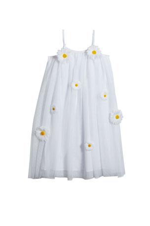 Charabia Girl's 3D Daisy Sleeveless Shift Dress, Size 4-5 Girl's 3D Daisy Sleeveless Shift Dress, Size 6-12