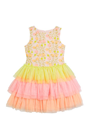 Charabia Girl's Multicolor Floral Lace Embroidered Tiered Tulle Dress, Size 4-5 Girl's Multicolor Floral Lace Embroidered Tiered Tulle Dress, Size 8-12