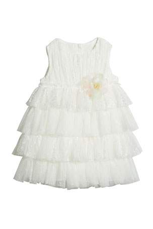 Charabia Girl's Tiered Lace & Tulle Sleeveless Dress, Size 4-5 Girl's Tiered Lace & Tulle Sleeveless Dress, Size 6-12