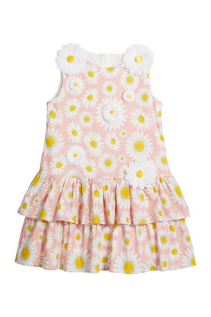 Charabia Girl's Daisy Print Knit Dress w/ 3D Daisies, Size 4-5 Girl's Daisy Print Knit Dress w/ 3D Daisies, Size 6-12