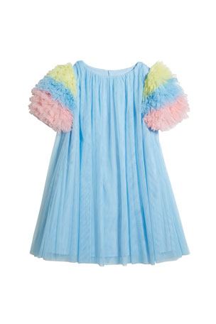 Charabia Girl's Multicolor Ruffle-Sleeve Tulle Dress, Size 4-5 Girl's Multicolor Ruffle-Sleeve Tulle Dress, Size 6-12