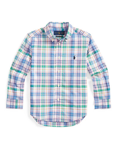 Boy's Stretch Poplin Plaid Button-Down Shirt  Size 2-4  and Matching Items