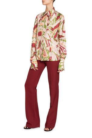 Victoria Beckham Silk Pointed-Collar Shirt Wide-Leg Trousers