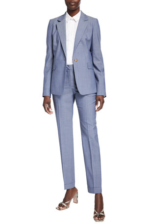 Lafayette 148 New York Trixie Nova Wool Jacket Montego Italian Stretch Cotton Button-Down Blouse w/ Chain Clinton Nova Wool Cuffed Ankle Pants