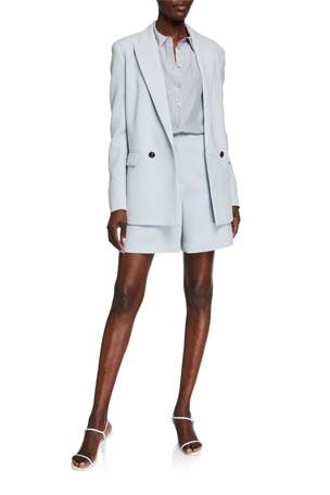 Lafayette 148 New York Penn Double-Breasted Finesse Crepe Jacket Adams Matte Silk Blouse