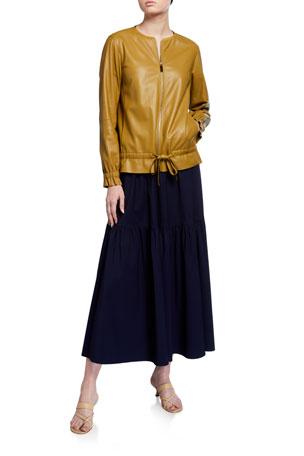 Lafayette 148 New York Chapman Supple Napa Zip-Front Leather Jacket Modern V-Neck Short-Sleeve Cotton Jersey Tee Safford Stretch Cotton Skirt