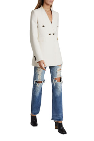 Givenchy V-Neck Double-Breasted Blazer Distressed Straight-Leg Jeans