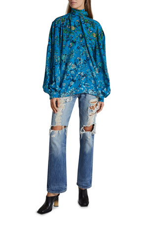 Givenchy Printed Silk Scarf Shirt Distressed Straight-Leg Jeans