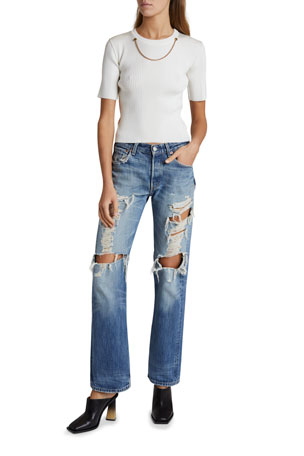Givenchy Chain-Trim Knit Top Distressed Straight-Leg Jeans