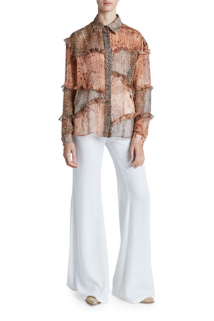 Redemption Ruffled Patchwork Menswear Shirt Satin Flared Pants