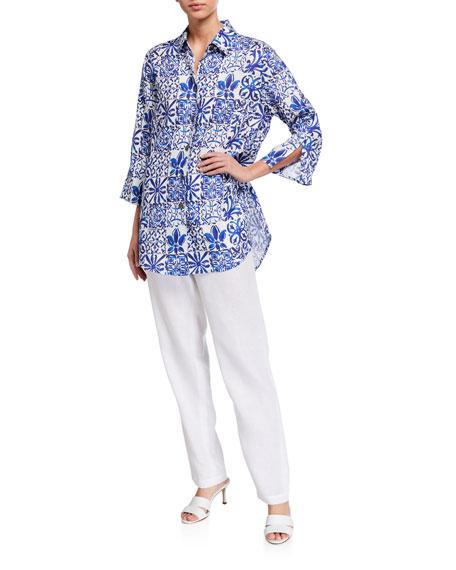 Caroline Rose Greek Island Printed Linen Easy Button-Front Shirt