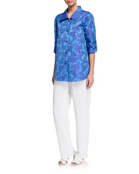Caroline Rose Rumba Rose Button-Front Jacquard Shirt