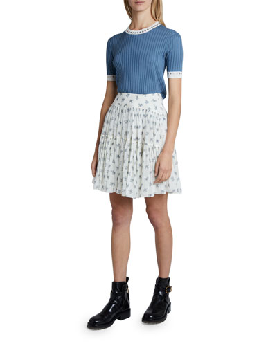 Superfine Rib-Knit & Eyelet Sweater and Matching Items