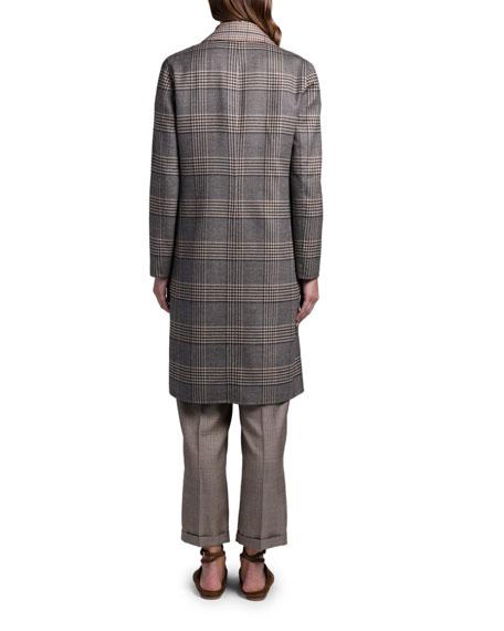 Agnona Reversible Plaid Knee-Length Coat