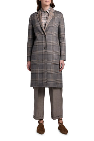 Agnona Reversible Plaid Knee-Length Coat Checked Wool-Silk Shirt