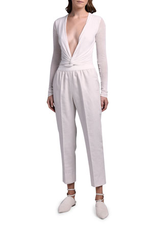 Agnona Linen Sporty Slim-Leg Pants Deep-V Bodysuit