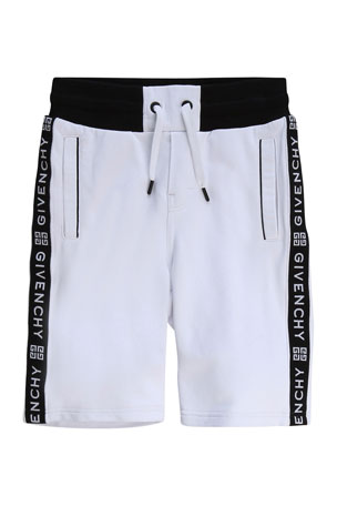 Givenchy Boy's Logo Taping Drawstring Shorts, Size 6-10 Boy's Logo Taping Drawstring Shorts, Size 12-14 Boy's Logo Taping Drawstring Shorts, Size 4
