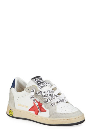 Golden Goose Ball Star Leather Low-Top Sneakers, Baby/Toddler Ball Star Leather Low-Top Sneakers, Kids Ball Star Leather Low-Top Sneakers, Toddler/Kids