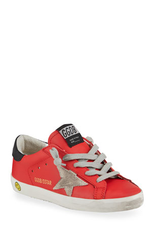 Golden Goose Superstar Leather Low-Top Sneakers, Toddler/Kids
