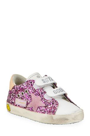 Golden Goose Girl's Old School Leather Sneakers, Baby/Toddler Girl's Old School Leather Sneakers, Toddler/Kids