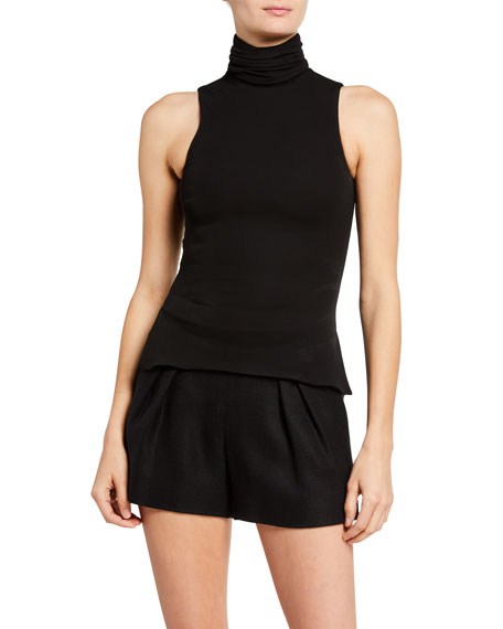 Brandon Maxwell Jersey Shirred Mock-Neck Tank