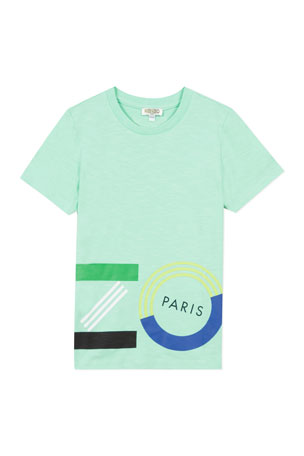Kenzo Boy's Wrap Around Logo T-Shirt, Size 2-6 Boy's Wrap Around Logo T-Shirt, Size 8-12
