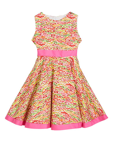 Girl's Pebble Print Twirl Dress w/ Solid Trim  Size 12M-3 and Matching Items