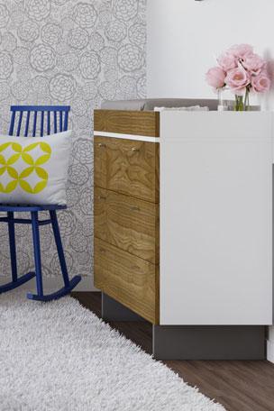 "Spot On Square Roh 45"" Dresser, White/Walnut Roh Crib Conversion Kit, Walnut/Acrylic"